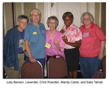 Judy Benson, Lavender, Chris Roerden, Mandy Carter, and Sally Tatnall